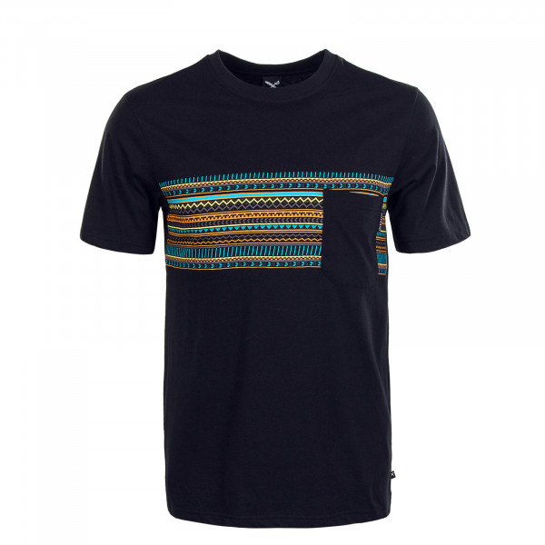 Herren T-Shirt Chop Chop Pocket Black Neon Blue