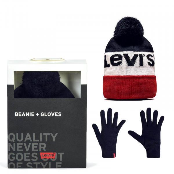 Levis Giftset Logo Beanie +Gloves Navy