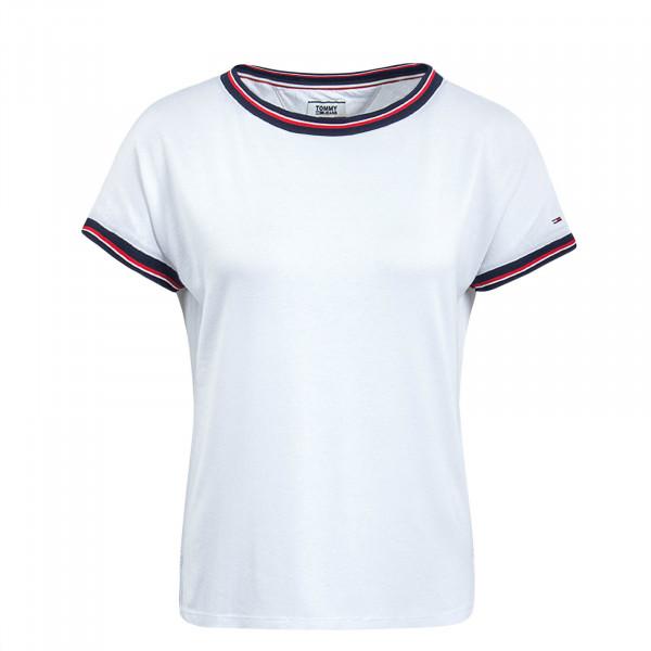 Damen T-Shirt Crepe RWB Detail White
