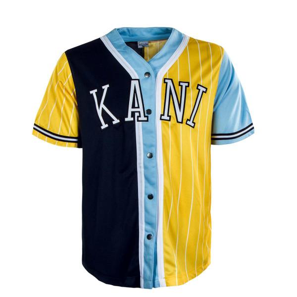 Herren Hemd - College Block Pinstripes Baseball Shirt - Yelow