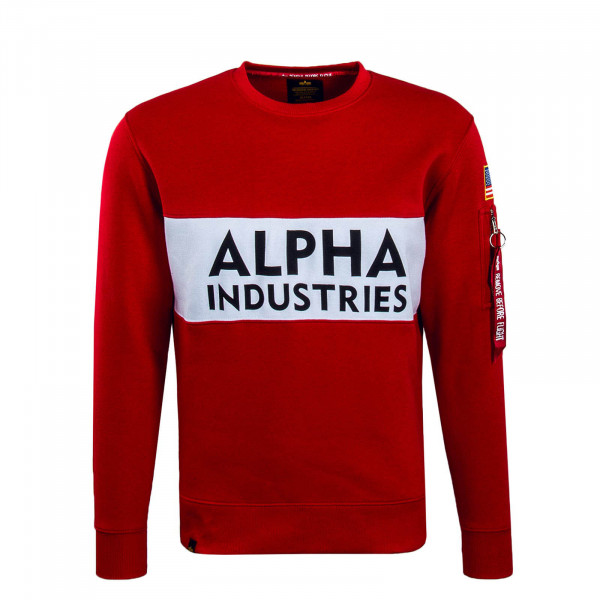 Herren Sweatshirt Inlay Red White