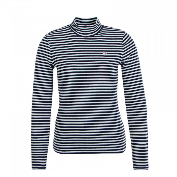 Damen Longsleeve Mock Stripe Navy White