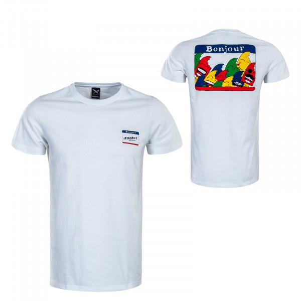 Herren T-Shirt Bonjour White