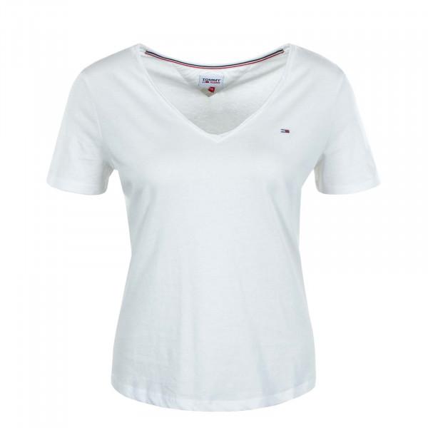 Damen T-Shirt Slim V Jersey 9195 White