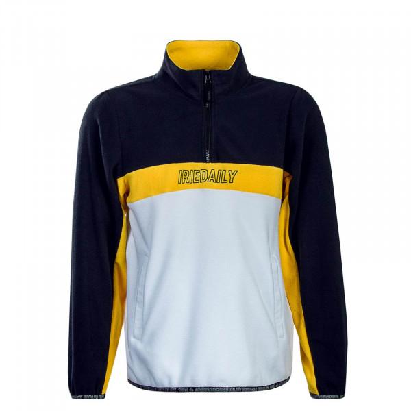 Herren Sweatshirt Fleece White Navy Yellow