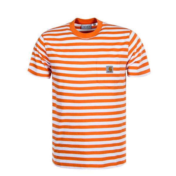 Herren T-Shirt Scotty Stripe Orange White