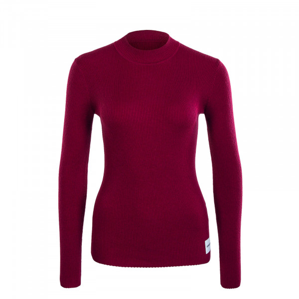 Damen Longsleeve Knit Iconic Rib Beet Red