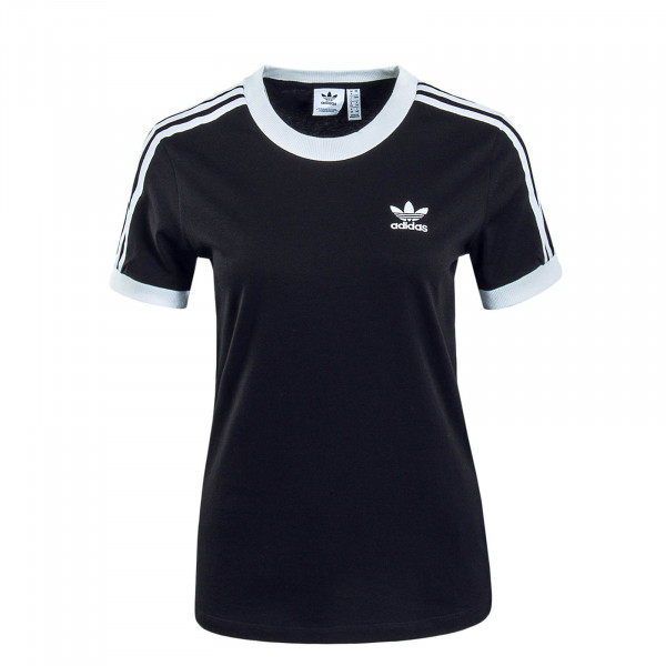 Damen T-Shirt 3 Stripes Black White