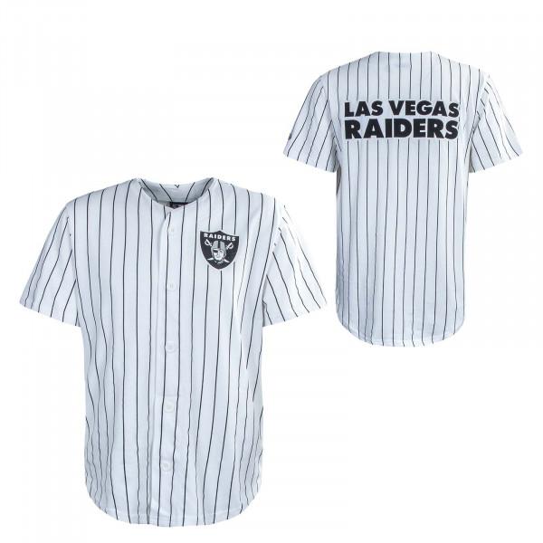 Herren T-Shirt - Pinstripe Baseball Jersey LA Raiders - White
