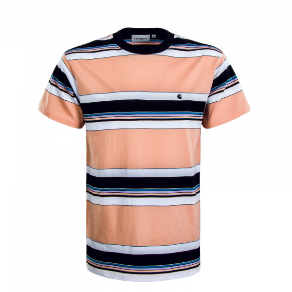 Herren T-Shirt Ozark Stripe Peach Black White