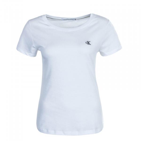 Damen T-Shirt Embroidery Bright White