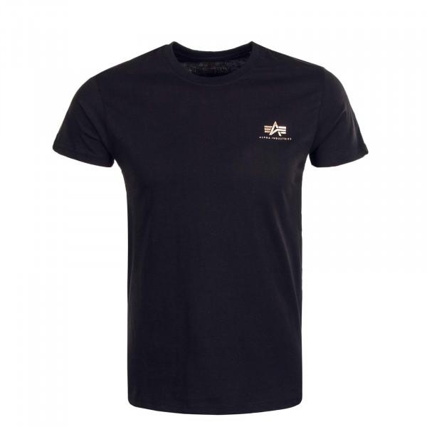 Herren T-Shirt Small Basic Logo Foil Print Black Gold