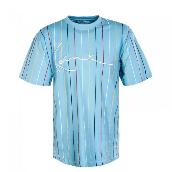 Herren T-Shirt - Signature Pinstripe - Light Blue / Navy