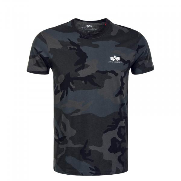 Herren T-Shirt Small Basic Camouflage Anthrazit Black