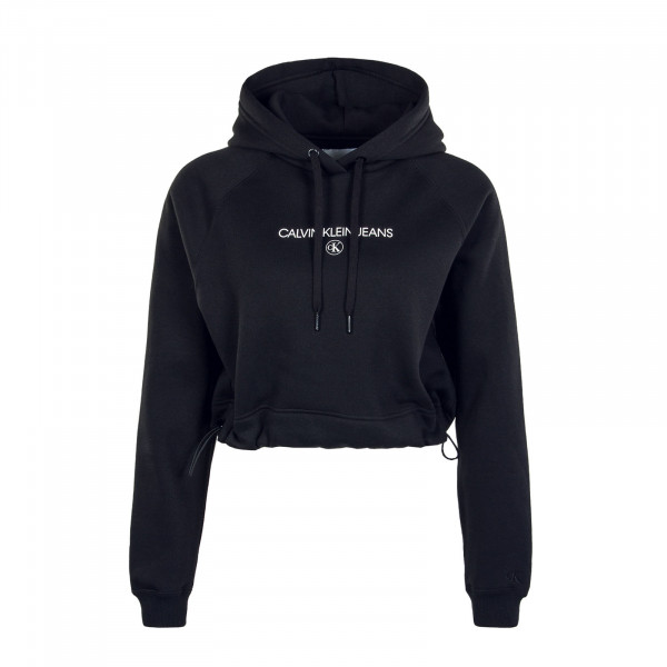 Damen Hoody Cropped Institution Round CK Black
