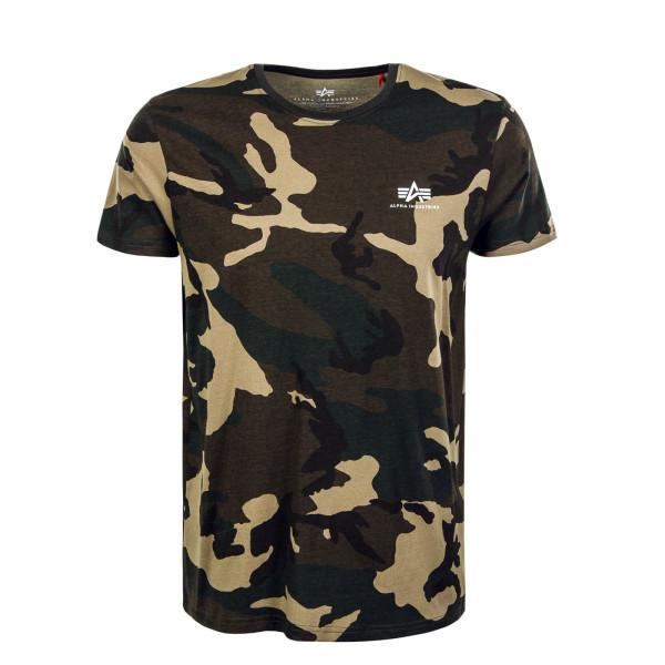 Herren T-Shirt Small Logo Camouflage Woodland 65