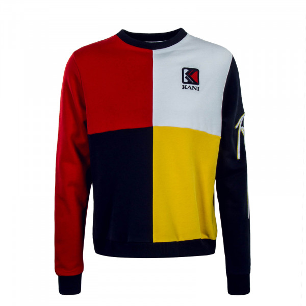 Herren Sweatshirt Block Crew Yellow Red White