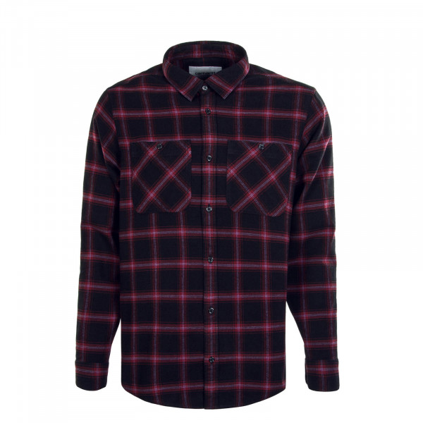 Herren Hemd Check Bordeaux Black