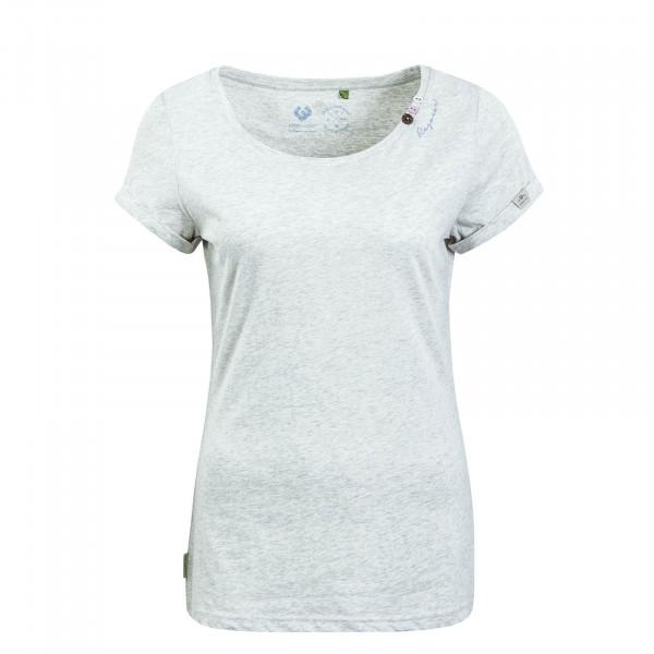 Damen T-Shirt Florah Organic White Grey Melange