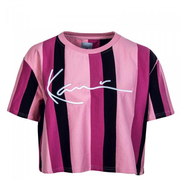 Damen T-Shirt Signature Stripe Tee Pink Dark Pink Black
