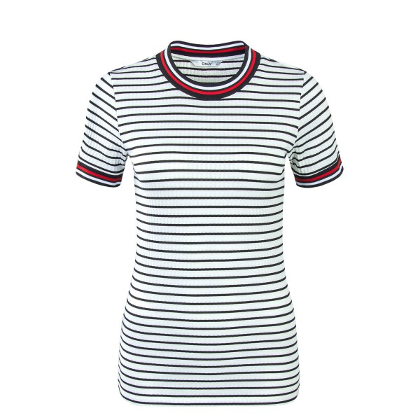 Only TS Lou Stripe White Blk Red