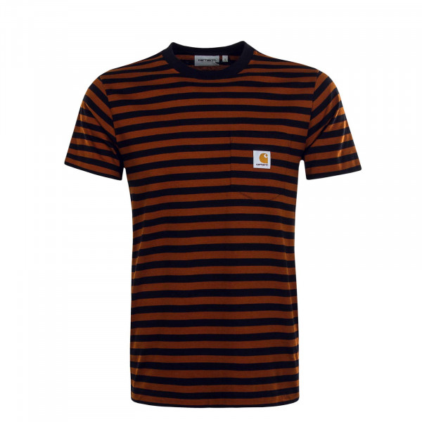 Herren T-Shirt Parker Pocket Stripe Black Brown