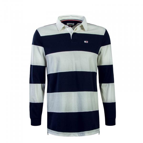 Herren Longsleeve Polo Classics Stripe Navy Beige