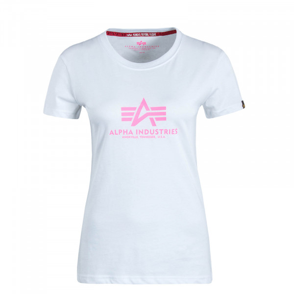 Damen T-Shirt New Basic White Neo Pink