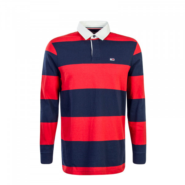 Tommy LS Polo Classics Stripe Navy Red