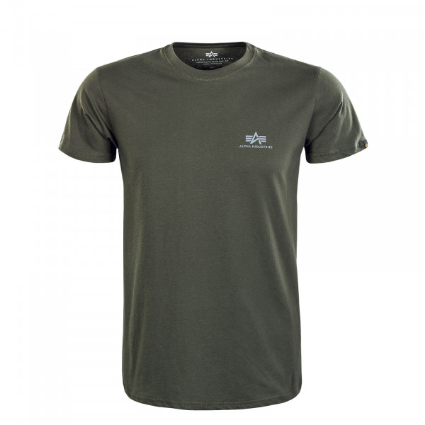 Herren T-Shirt - Basic Small Logo Reflective - Dark Olive