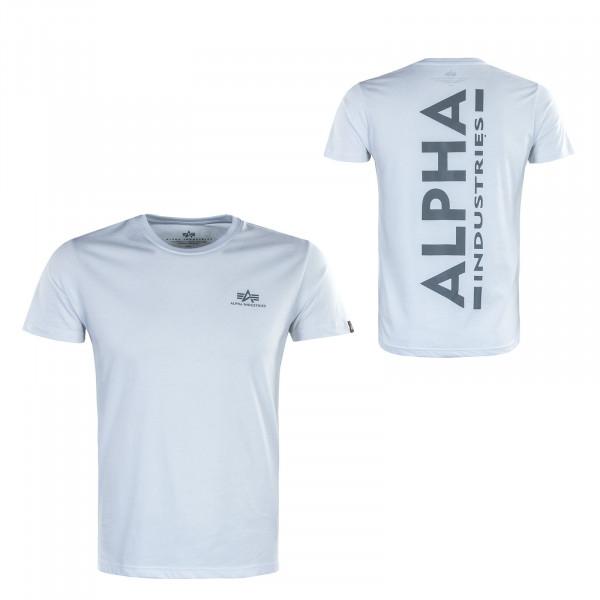 Herren T-Shirt - Backprint Reflective Print - White