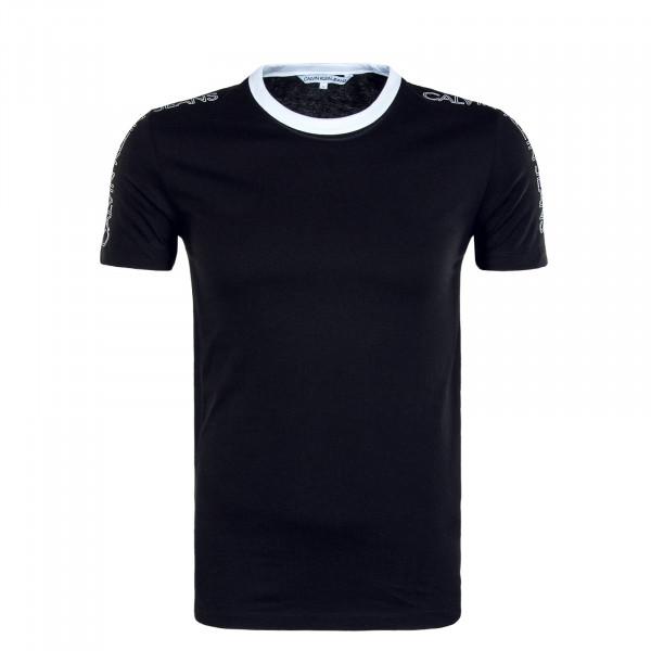 Herren T-Shirt Outline Logo Shoulder Black