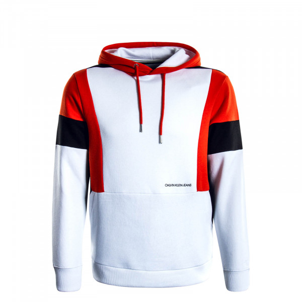 Herren Hoody Color Block White Red Black
