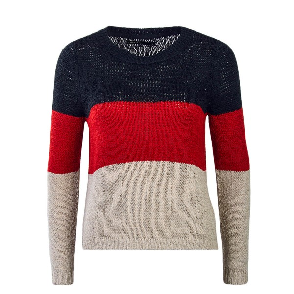 Only Knit Geena Block Navy Red Beige