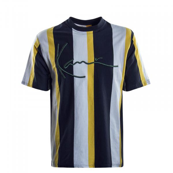 Herren T-Shirt Signature Stripe Navy White Yellow