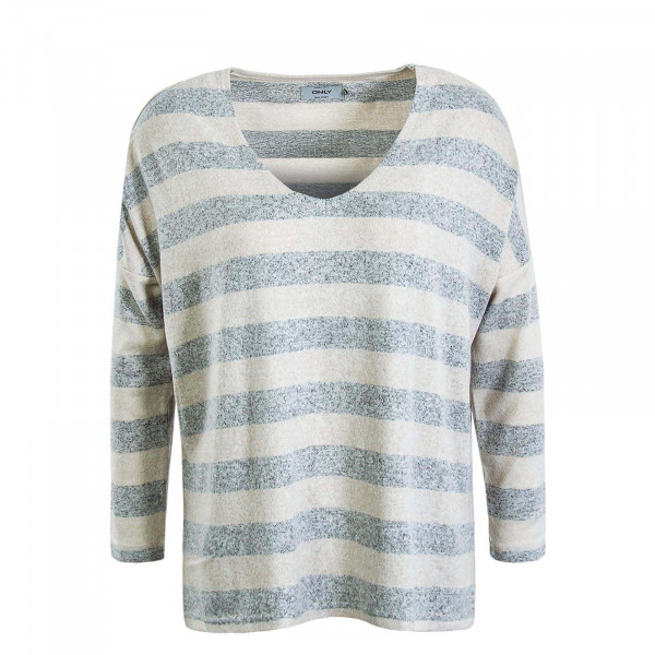 Damen Longsleeve Maye Stripe Beige Light Grey