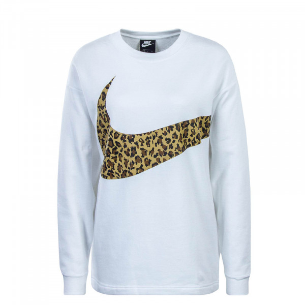 Damen Sweatshirt Crew Animal White Brown