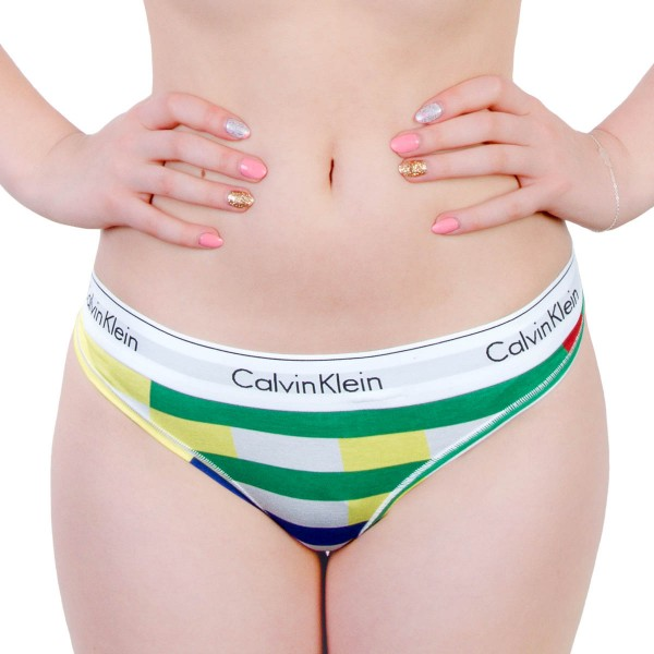 CK Wmn Thong Stripe Multi Green Yellow