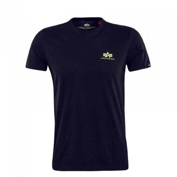 Herren T-Shirt Small Basic Black Neon Yellow