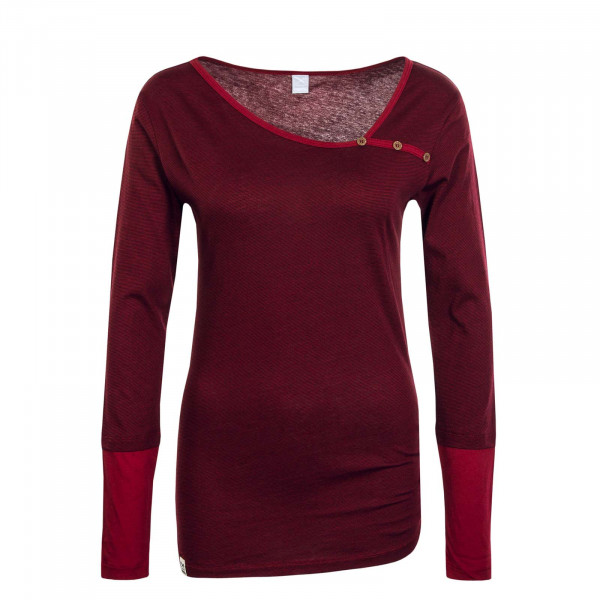 Damen Longsleeve Asym Stripe Button Bordeaux Red
