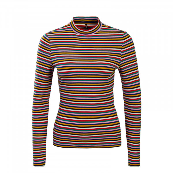 Only LS Fifi Mock Stripes Rainbow Red