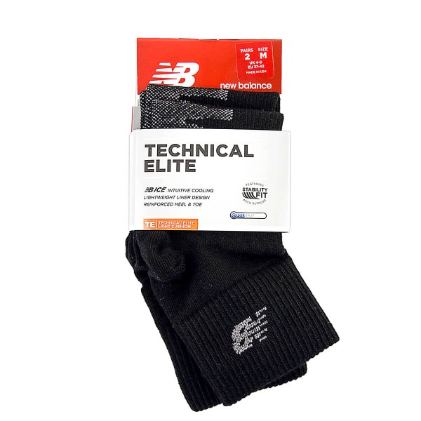 New Balance Socks Elite 2 Pack Black