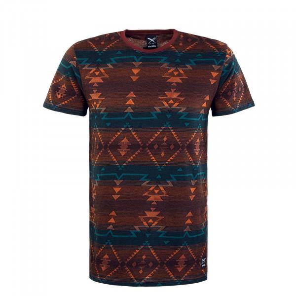 Herren T-Shirt - Santania - Petrol / Red
