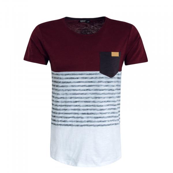Herren T-Shirt 20577 Bordeaux White
