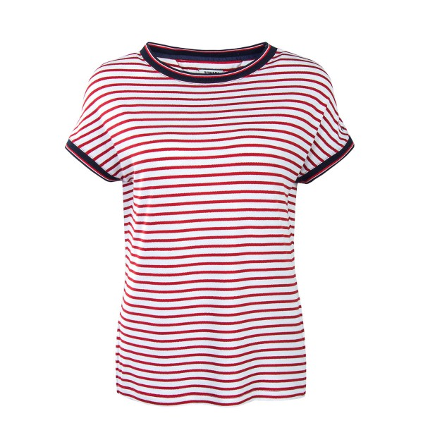 Tommy Wmn TS Crepe Stripe White Red
