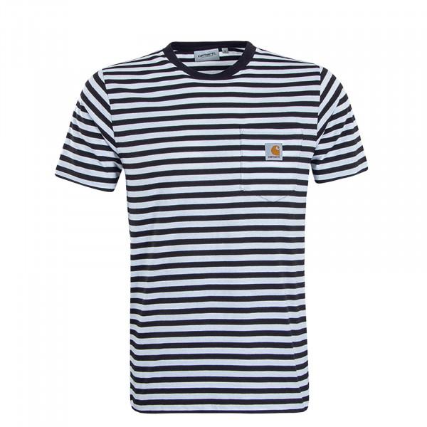 Herren T-Shirt Haldon Pocket Stripe White Blue