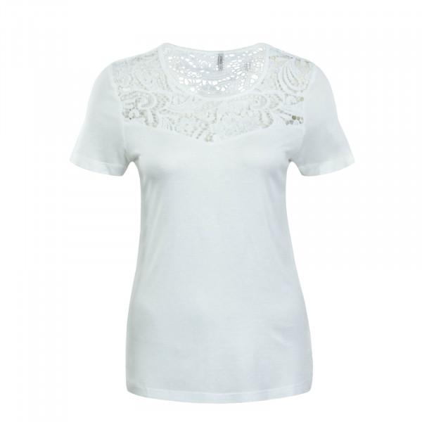 Damen T-Shirt Laiba Crochet Beige