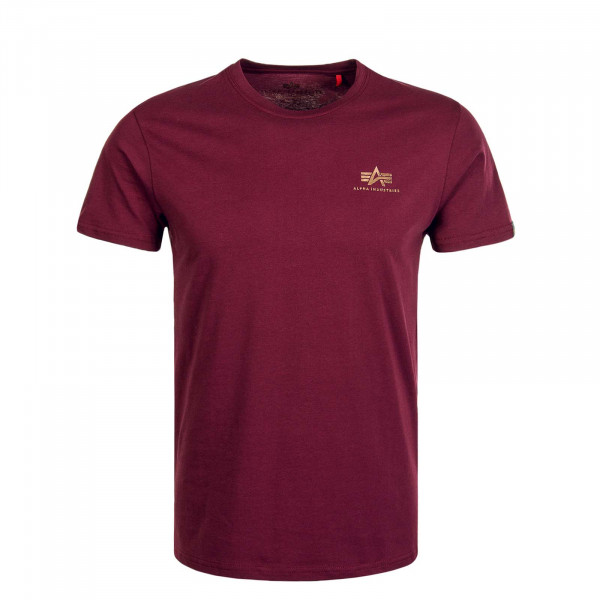 Herren T-Shirt Small Basic Logo Burgundy Gold