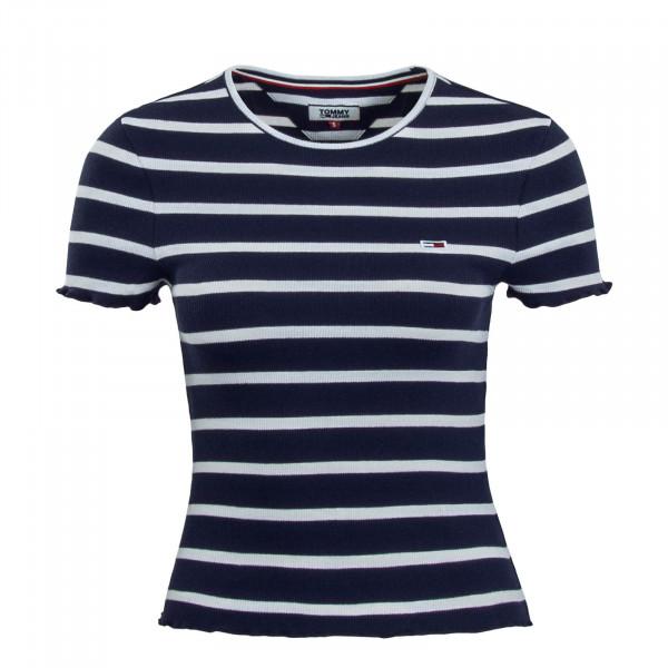 Damen T-Shirt Crop Stripe Baby Navy White