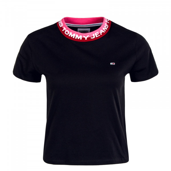 Damen Crop Top - Branded Rib - Black